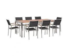 Set di tavolo 220cm in legno di eucalipto e 8 sedie da giardino in fibra tessile nera GROSSETO