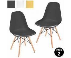 Pack 2 sedie per sala da pranzo design nordico soggiorno terrazza camera da letto nero
