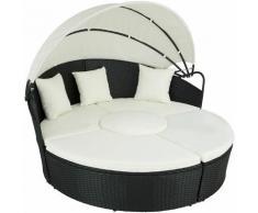 Tectake - divano prendisole in alluminio e rattan - rattan, rattan sintetico - nero