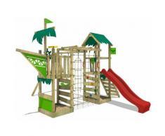 FATMOOSE Parco giochi in legno WaterWorld Giochi da giardino con altalena e scivolo rosso Casetta