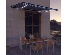 Tenda da Sole Retrattile Manuale con LED 450x300cm Blu e Bianca - Blu - Vidaxl