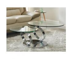 Tavolino girevole in Vetro temperato e metallo - JOLINE