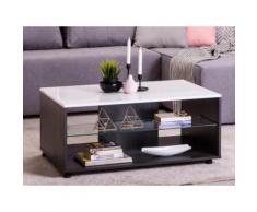 Tavolino rettangolare con nicchie in MDF e Vetro Bianco e wengé - TIMEO