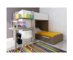 Letto a castello con scrivania integrata 2x90x190 cm in Pino bianco e Marrone - SAMUEL