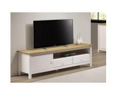 Mobile TV con 1 anta e 2 cassetti Abete Bianco e quercia - NEWPORT