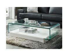 Tavolino in Vetro curvo e MDF laccato bianco - GLOSSIE
