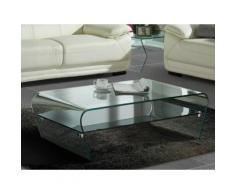 Tavolino in Vetro temperato Ripiano nero laccato - KELLY