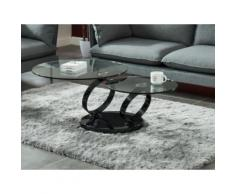 Tavolino girevole in Vetro temperato trasparente e base cromata nera - JOLINE