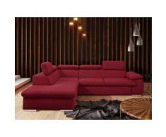 Divano letto angolare con contenitore in tessuto Rosso - Angolo a sinistra - FABIEN