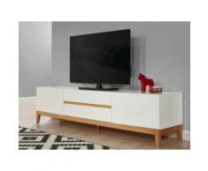 Mobile TV con 2 porte e 2 cassetti in Legno massello di quercia e MDF laccato bianco - SEDNA