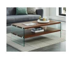 Tavolino in Vetro temperato e MDF Noce - HARRIET
