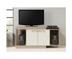 Mobile TV allungabile con 2 ante e 2 nicchie Quercia - THIAGO