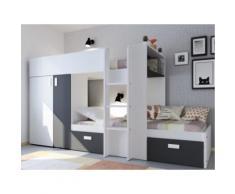 Letto a castello con armadio integrato 2x90x190 cm Bianco e nero - JULIEN