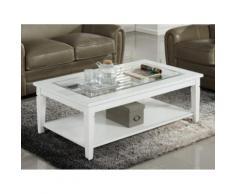 Tavolino rettangolare in Pino bianco e vetro temperato - GUERANDE