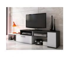 Mobile TV allungabile e modulabile 2 ante Antracite e bianco - DARYL