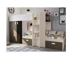 Letto a castello con armadio integrato 2x90x190 cm Bianco e marrone - JULIEN