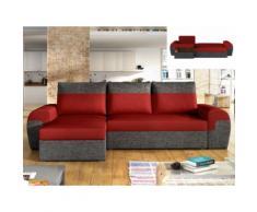Divano letto angolare reversibile in tessuto Bicolore rosso e antracite - GABY