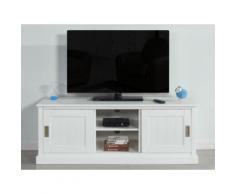 Mobile TV con 2 porte, 2 nicchie in Pino bianco - GUERANDE