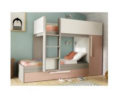 Letto a castello con letto cassettone a scomparsa e armadio integrato 3x90x190 cm in Abete rosa cipria e bianco - ANTONIO