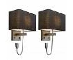QAZQA Set di 2 lampade da parete in acciaio con paralume, braccio lettura incl. LED - Bergamo