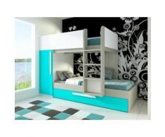 Letto a castello con cassettone letto estraibile e armadio integrato 3x90x190 cm Abete turchese e bianco - ANTONIO