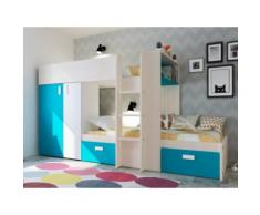 Letto a castello con armadio integrato 2x90x190 cm in Pino bianco e blu - JULIEN