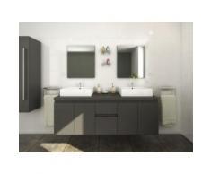 Mobili bagno sospesi doppio lavabo e specchi Grigio - LAVITA II