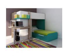 Letto a castello con scrivania integrata 2x90x190 cm in Pino bianco e turchese - SAMUEL
