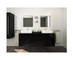 Mobili bagno sospesi doppio lavabo e specchi Nero - LAVITA II