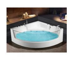 Vasca idromassaggio angolo in vetro ETHRA - 1 posto - 150 x 150 x h75 cm - Bianca