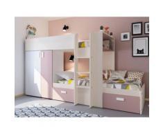 Letto a castello con armadio integrato 2x90x190 cm Bianco e rosa cipria - JULIEN