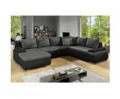 Divano letto angolare panoramico reversibile in similpelle e tessuto Bicolore nero e grigio - DAKOTA