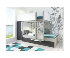 Letto a castello con cassettone letto estraibile e armadio integrato 3x90x190 cm in Abete antracite e bianco - ANTONIO