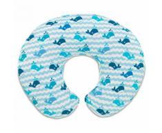 Chicco Cuscino Allattamento Boppy Foderato In Cotone Colore Blue Whales