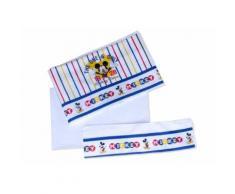 Completo 3pz lettino culla bimbo neonato lenzuolo stampa Mickey Disney baby bianco cielo TU
