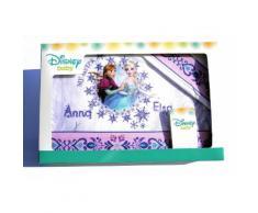 Completo 3pz lettino culla bimba neonato lenzuolo stampa Elsa e Anna Disney baby rosa glicine TU