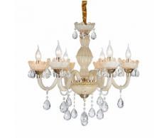 Lampadario da soffitto Cristallo dorato e gocce Trasparenti 6 Bracci 2072-6