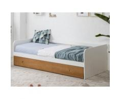 Letto divano con letto estraibile 2x90x190 cm in MDF Bianco e ciliegio - JULIETTE