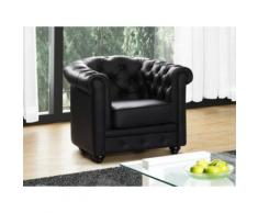 Poltrona CHESTERFIELD in similpelle Nera