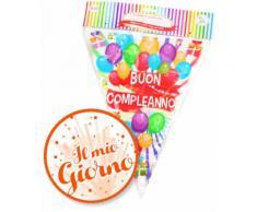 Festone Bandierine Buon Compleanno Palloncini in Pvc Givi Italia mt.10