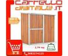 Box in Acciaio Zincato Casetta da Giardino in Lamiera 1.74 x 1.00 m x h1.82 m - 43 KG – 1.74 metri quadri - LEGNO
