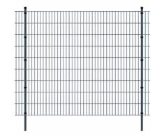 vidaXL Pannello di recinzione 2D giardino con paletti 2008x1830 mm 48m grigio