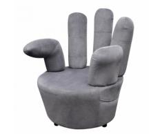 vidaXL Poltrona in velluto grigio a forma di mano