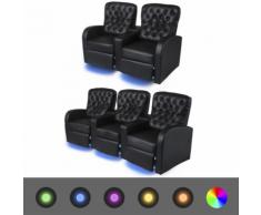 vidaXL Poltrona Reclinabile con LED 2+3 Posti Pelle Artificiale Nera