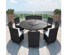 vidaXL Set da giardino tavolo rotondo e sedie in polirattan nero 12 persone