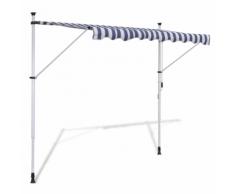 vidaXL Tenda da Sole a Scomparsa 350 cm ad Azionamento Manuale Blu/Bianco