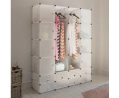 vidaXL Scaffale armadietto modulare con 18 scomparti bianco 37 x 150 190 cm