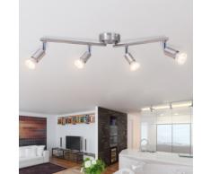vidaXL Lampada da Soffitto con 4 Faretti a LED in Nichel Satinato
