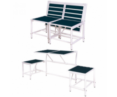 Esschert Design BL067 Magical Panchina convertibile da giardino blu