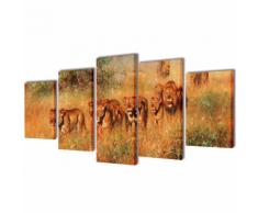 vidaXL 5 pz Set Stampa su Tela da Muro Leoni 200 x 100 cm